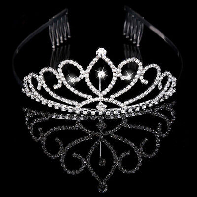 New Bridal Princess Austrian Crystal Hair Tiara Wedding Crown Veil Headband Hot