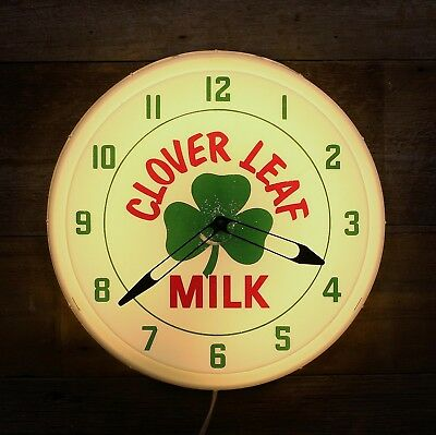 Vintage CLOVER LEAF MILK Lighted Clock Dairy Sign NEON Products Inc. Lima, OHIO