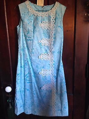 "Vintage NOS BABY Blue BUTTERFLY DRESS screenprinted1950s Size 8 1960s 36"" Bust"