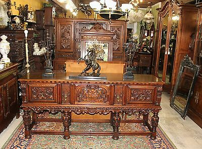 Exquisite Berkey & Gay Renaissance Inlaid Carved Mahogany Sideboard / Buffet