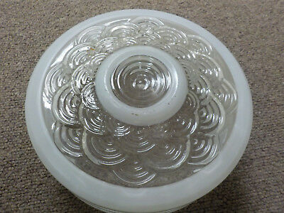 Vintage Bathroom Round Clear & Frosted Glass Ceiling Light Fixture Shade pattern