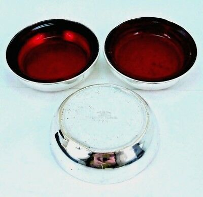 Vintage F B Rogers Silver Co ruby red glass 775 silver-plated cup coaster set