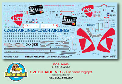 BOA Airbusm A320  Czech Airlines - Citibank logojet Decal 1:144 #BOA14466