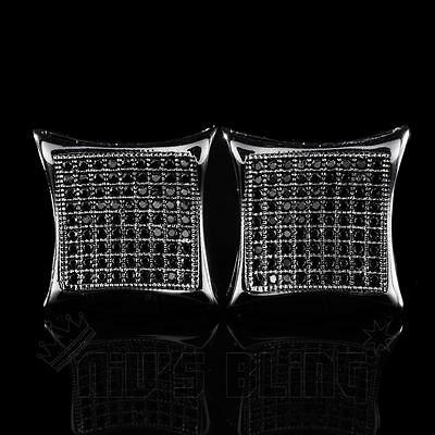 18k Black Gold Out ICED Simulated Diamond Micropave Square Stud Hip Hop Earring