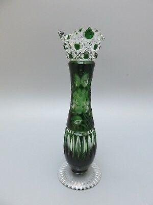 "Meissen Crystal Cut To Clear Flower With London Green Vase -  9"" High - Signed"