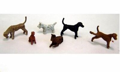 Dogs x 6 posed PAINTED OO / HO Model Trains or Diorama F66p