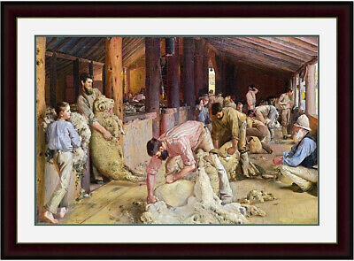 Shearing the Rams by Tom Roberts Mahogany Gold Inlay MGIWG Frame