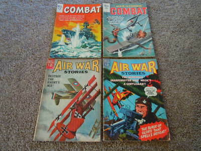 Vintage Comic Book Lot of 4 by Dell- COMBAT/ AIR WAR STORIES