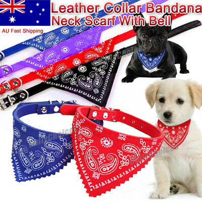 New Adjustable Leather Collar Bandana Neck Scarf Dog Puppy Cat Kitten With Bell.
