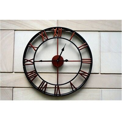 Large Round Bronze Metal Skeleton Roman Numeral Indoor/Garden Outdoor Wall Clock