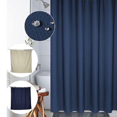 Waterproof Polyester Fabric Bathroom Solid Color Shower Curtain With 12 Hooks