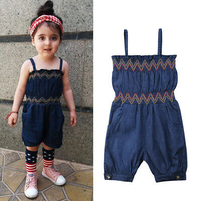 UK Summer Toddler Kids Girls Strap Denim Romper Jumpsuit Playsuit Clothes 1-6Yrs
