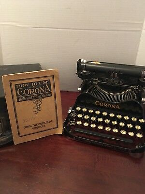 1916 Corona 3 Portable Folding Typewriter Freshly Serviced Excellent Condition!