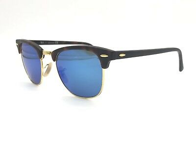 115c5d0a48 Ray-Ban RB3016 1145 17 Clubmaster Tortoise Gold  Blue Mirror Lens 49mm  Authentic