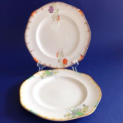 2 VINTAGE JAMES KENT 1930s STAFFORDSHIRE HIGH TEA HAND PAINTED SIDE CAKE PLATES