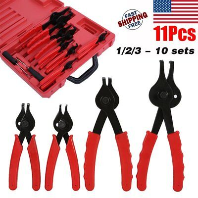 11pc SNAP RING CIRCLIP PLIERS CLIPS SAFETY RINGS INTERNAL EXTERNAL REMOVER SET C