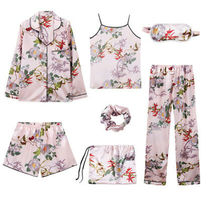 7PCS Womens Silk Satin Pajama Sets Sleepwear Nightwear Pyjamas Loungewear Soft