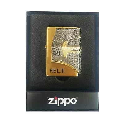 Zippo Helm Lighter Gold Genuine Case Pocket Windproof Made in USA