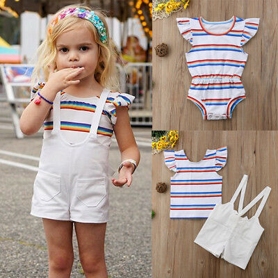 Newborn Baby Girl Infant Kids Clothes Romper Top T-shirt+ Strap Pants Outfit Set