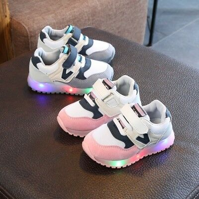 Kids Toddler Lighted Sneakers Leather LED Baby Boy Girl Crib Shoes Soft Trainers