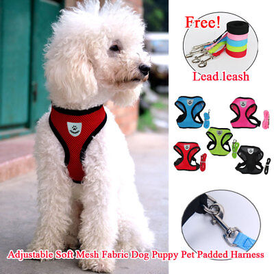 WATERPROOF Soft Mesh Dog Harness Fabric Puppy Pet Adjustable Clip Rope