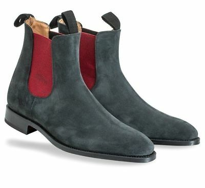 Men New Handmade Formal Suede Leather Shoes Mens Dark Grey Chelsea Ankle Boots