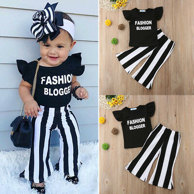 UK Stock Kids Baby Girls Toddler Tops T-shirt + Bell Bottom Pants Outfit Clothes