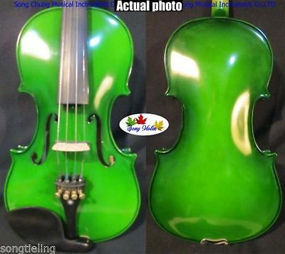 Green solid wood Electric Acoustic Violin Spruce+maple Powerful Sound