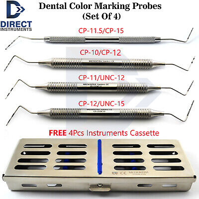 4Pcs Dental Periodontal Color Marking Probe CP-10-11-12-/UNC-12-15 With Cassette