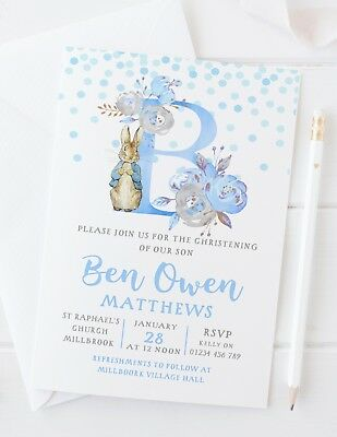 10 PERSONALISED PETER RABBIT CHRISTENING INVITATIONS - BLUE or PINK INITIAL