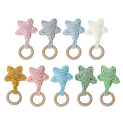 Baby Teething Ring Chewie Teether Safety Wooden Natural Star Sensory Toys Gift
