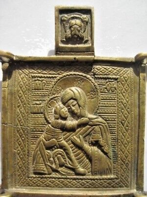 19th century Antique Russian Orthodox Bronze Icon