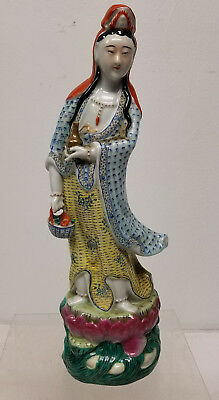Antique Vintage Chinese Enameled Guanyin Kwan Yin Figure Republic Signed