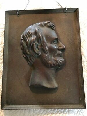 "President ABRAHAM LINCOLN Solid Bronze Bust Profile | 9.5 x 7.5"" Antique Display"