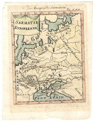 MALLETT 1683 Hand Coloured Map. SARMATIA Iran Eastern Europe