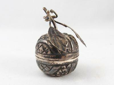 Antique Silver Fruit Shaped & Floral Repousse Small Trinket Box Snuff/pill