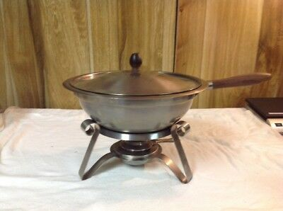 VTG Reed & Barton Stainless Steel Chafing Dish & Fondue Dish, Wooden Handle
