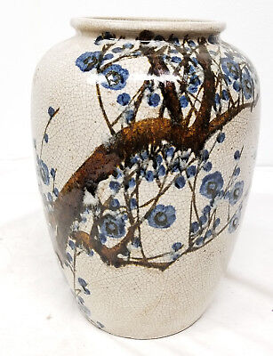 Antique Vintage Japanese Signed Art Pottery Large Vase Prunus Crackle