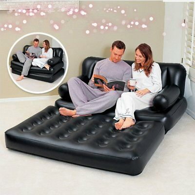 Inflatable Double Sofa Air Cushion Bed Couch Blow Up Mattress With Pump EK