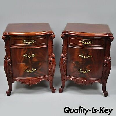 """Pair Antique Flame Mahogany Carved French """"Swan"""" Style Nightstands Bedside Table"""