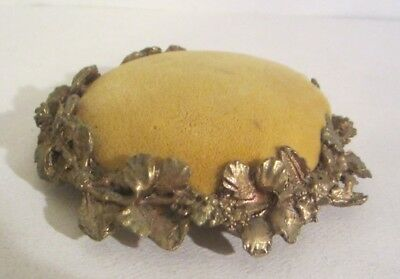 ANTIQUE VELVET PIN CUSHION SEWING Gold tone Ornate Flowers