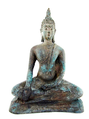 Thai Antique Bronze Buddha Statue Sitting Home Decoration Meditating Posture 6""
