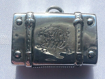 A Rare Victorian Silver Vesta Case In The Form Of A Trunk Made In 1884
