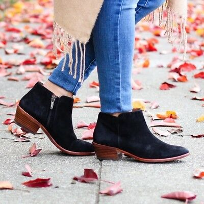 96fe42b3d922 SAM EDELMAN Booties Petty Chelsea Ankle Boots Bootie Black Suede Leather  8.5 M