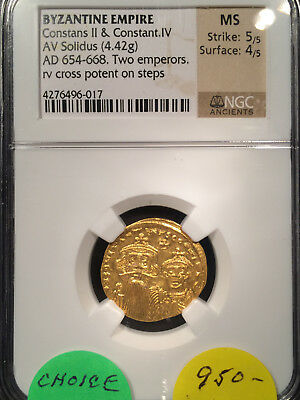 Byzantine Empire Constans II and IV AD 654 AV Solidus NGC MS Mint State 5/5