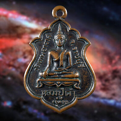 Old Genuine Thai Amulet Pendant Buddha Phra LP. Dam Magic Talismans Wealth Lucky