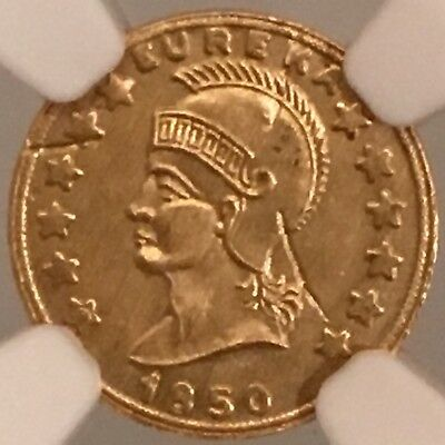 "1850-Dated California Gold Minerva ""One D.G.W."" Round 13mm.  NGC MS65."