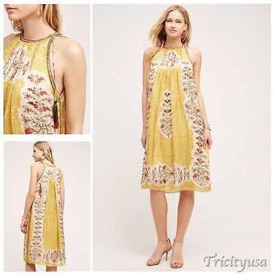 5a219c814530 NWT Anthropologie Soleil Swing Dress by Bhanuni Floral Yellow S SMALL Orig.  $198
