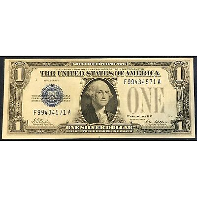 1 DOLLAR NOTE | USA | 1928 A | One Silver Dollar| Blue Seal | rar ...