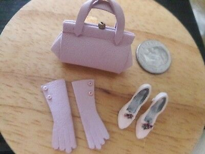 Gorgeous Pink Purse, Gloves And Shoes 1:12 Dollhouse Artisan New Ooak